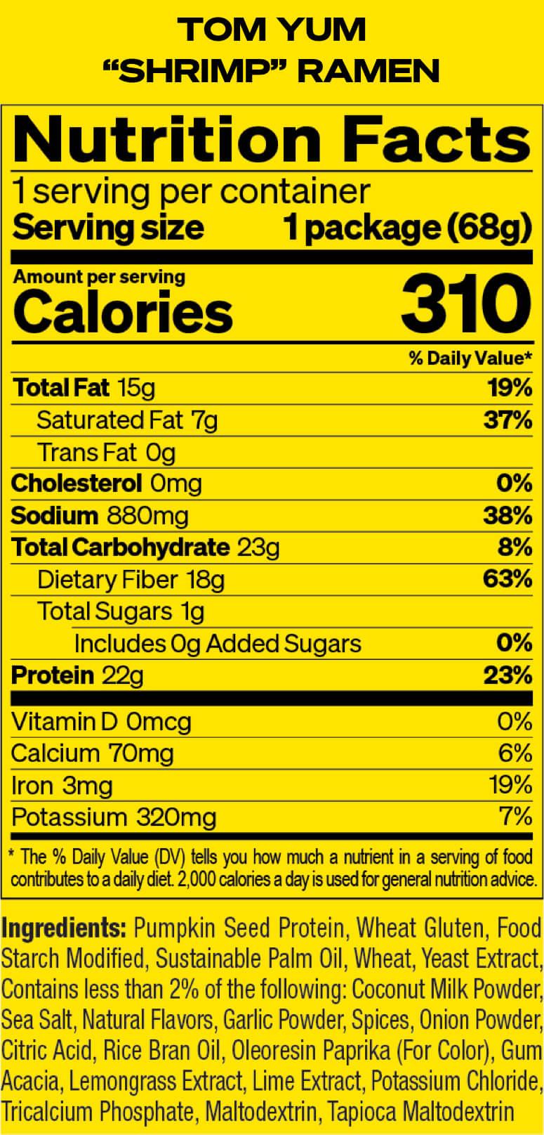 Tom Yum Shrimp Nutrition Facts