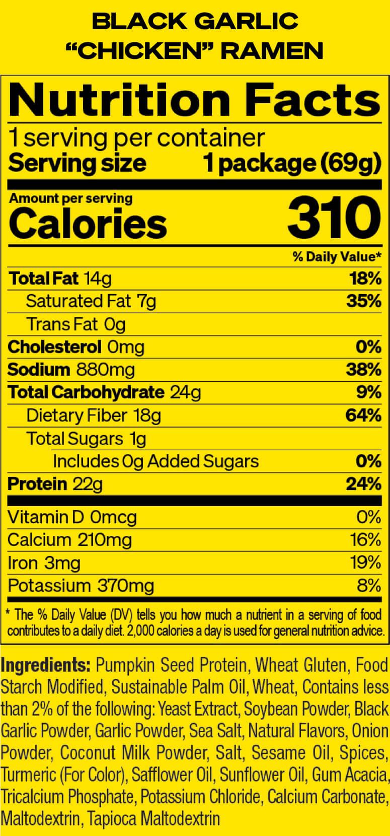 Black Garlic Chicken Nutrition Facts